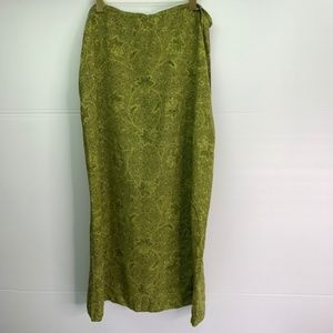 Amanda Smith Pure Silk Wrap Skirt XL Green Leaf